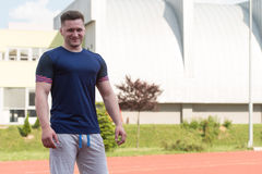 Athletic Man After Fitness Exercise Outdoor Stock Images