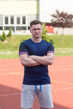 Athletic Man After Fitness Exercise Outdoor Royalty Free Stock Photo