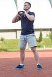 Athletic Man After Fitness Exercise Outdoor Stock Image