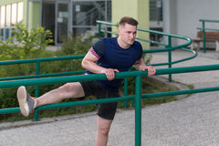 Athletic Man After Fitness Exercise Outdoor Stock Photos