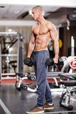 Athletic man holding heavy dumbbells Royalty Free Stock Photography