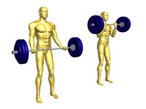 Athletic man lifting weights. Golden athletic man lifting weights on white background vector illustration
