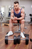 Athletic man preparing for workout Stock Photos