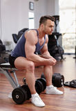 Athletic man preparing for workout Stock Images