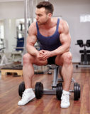 Athletic man preparing for workout Stock Photo