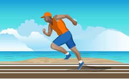 Athletic Man Running on Beach royalty free illustration