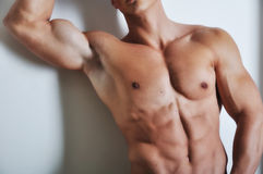 Athletic man with six-pack royalty free stock image