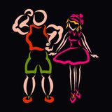 Athletic man and slim woman, black background vector illustration