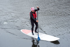 Athletic man stand up paddle board SUP04 Stock Photo