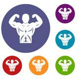 Athletic man torso icons set Stock Images