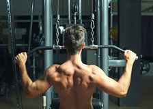 Athletic man training back muscles. In gym royalty free stock image
