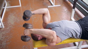 Athletic man. Triceps workout