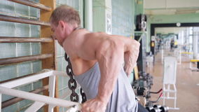 Athletic man. Triceps workout stock footage