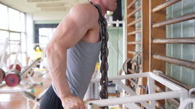 Athletic man. Triceps workout stock video footage