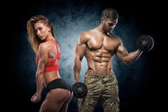 Athletic man and woman. Fitness couple. stock photography