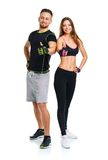 Athletic man and woman after fitness exercise with a finger up o Stock Image
