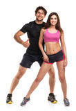 Athletic man and woman after fitness exercise with a finger up o Royalty Free Stock Image