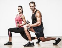 Athletic man and woman Stock Photos