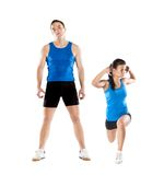 Athletic man and woman. Athletic men and women after fitness exercise royalty free stock images