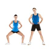 Athletic man and woman. Athletic men and women after fitness exercise royalty free stock image