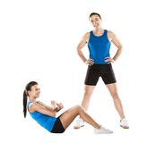 Athletic man and woman. Athletic men and women after fitness exercise royalty free stock photography