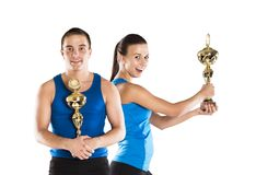 Athletic man and woman. Athletic men and women after fitness exercise stock photo