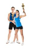 Athletic man and woman. Athletic men and women after fitness exercise stock photos