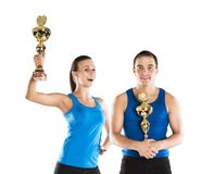 Athletic man and woman. Athletic men and women after fitness exercise stock image
