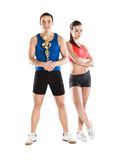 Athletic man and woman. Athletic men and women after fitness exercise royalty free stock photos