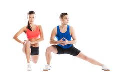 Athletic man and woman. Athletic men and women before fitness exercise royalty free stock photos