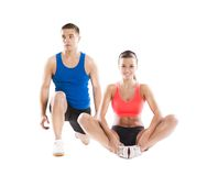 Athletic man and woman. Athletic men and women before fitness exercise royalty free stock images