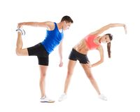 Athletic man and woman. Athletic men and women before fitness exercise stock photo