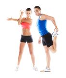 Athletic man and woman. Athletic men and women before fitness exercise stock photography