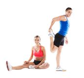 Athletic man and woman. Athletic men and women before fitness exercise stock photos