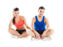 Athletic man and woman. Athletic men and women before fitness exercise royalty free stock photography