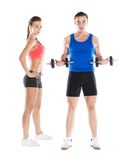 Athletic man and woman. Athletic men and women before fitness exercise royalty free stock image