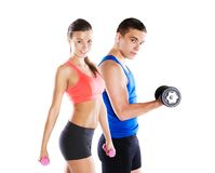 Athletic man and woman royalty free stock photos