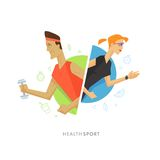 Athletic man and woman symbol illustration Royalty Free Stock Photography