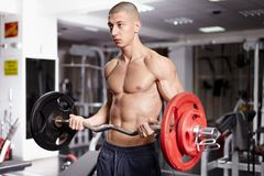 Athletic man working with barbell Royalty Free Stock Image