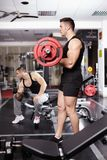 Athletic man working with barbell Royalty Free Stock Photo