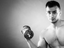 Athletic man working with heavy dumbbells Royalty Free Stock Image