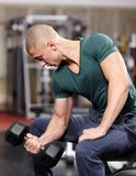 Athletic man working with heavy dumbbells Stock Photography