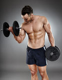 Athletic man working out with dumbbells Royalty Free Stock Image