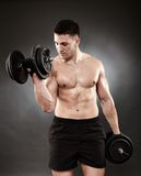 Athletic man working out with heavy dumbbells Royalty Free Stock Photo