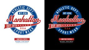 Athletic Manhattan T-shirt Image vector Stock Images