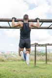 Athletic muscular man pushup, outdoor. royalty free stock photos