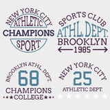 Athletic nyc logo typography, t-shirt graphics. Vector illustrat Stock Images