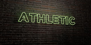 ATHLETIC -Realistic Neon Sign on Brick Wall background - 3D rendered royalty free stock image Royalty Free Stock Images