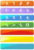 Athletic Rectangle Buttons. Collection of sports related rectangle buttons in a variety of colors royalty free illustration