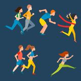 Athletic run man people jogging summer sport enjoying runner exercising their healthy lifestyle vector illustration Stock Photos